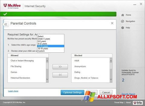 Skjermbilde McAfee Windows XP