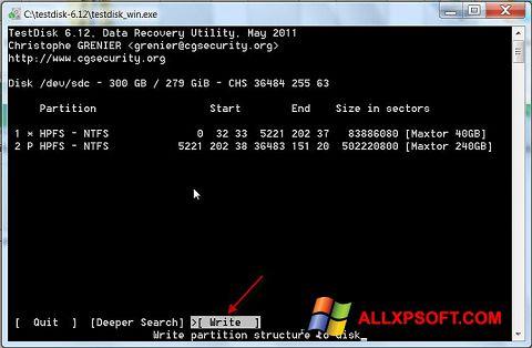 Skjermbilde TestDisk Windows XP