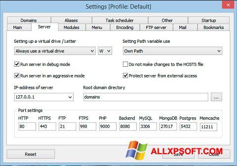 Skjermbilde Open Server Windows XP