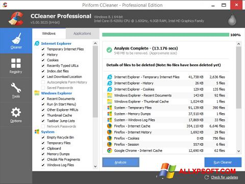 Skjermbilde CCleaner Windows XP