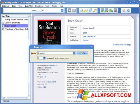 Skjermbilde All My Books Windows XP