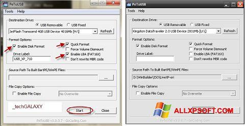 Skjermbilde PeToUSB Windows XP