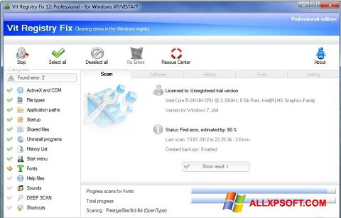 Skjermbilde Vit Registry Fix Windows XP
