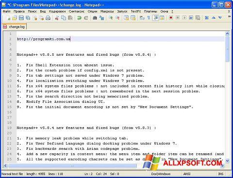 Skjermbilde Notepad++ Windows XP