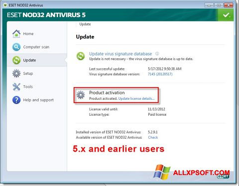 Skjermbilde ESET NOD32 Windows XP