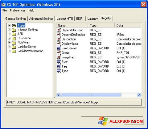 Skjermbilde TCP Optimizer Windows XP
