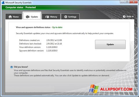 Skjermbilde Microsoft Security Essentials Windows XP